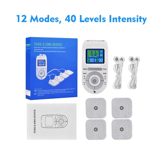 12 Modes Tens Unit Machine with 4 Electrode Pads for Pain Relief Pulse Massage EMS Muscle Stimulation Tens Electroestimulador