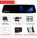 Original Lenovo 4.3'' Rear View Mirror with 16GB TF Camera Dash Cam Full HD 1080P IPS Touch Screen Night Vision Car DVRS Dashcam