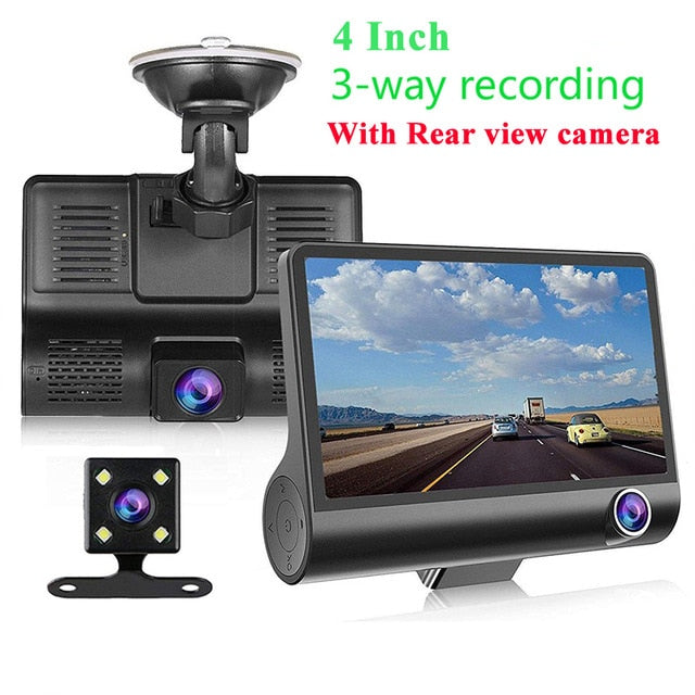 Car DVR Video Recorder Dash Camera 1080P HD Dash Cam Dual Lens Dashcam With Rear View Camera Car Front Back Inside 4 Inch