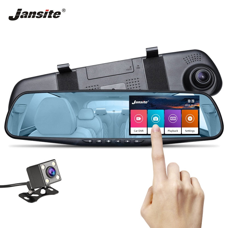 Jansite Car DVR Dual Lens Touch Screen FHD Car Camera Video Recorder Rearview Mirror with Rear View DVR Dashcam Simple Interface