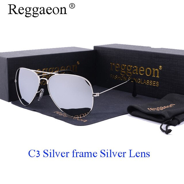 reggaeon high quality glass lens sunglasses women 2020 UV400 Men brand driving Pilot hot sunglasses 3025 rays Color blue brown