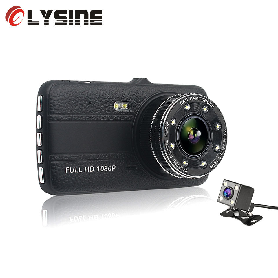 Olysine 4.0 inches Car DVR Dual Lens Dash Cam Full HD 1080P Auto Video Recorder Registrator Drive Camera Parking Monitor Dashcam
