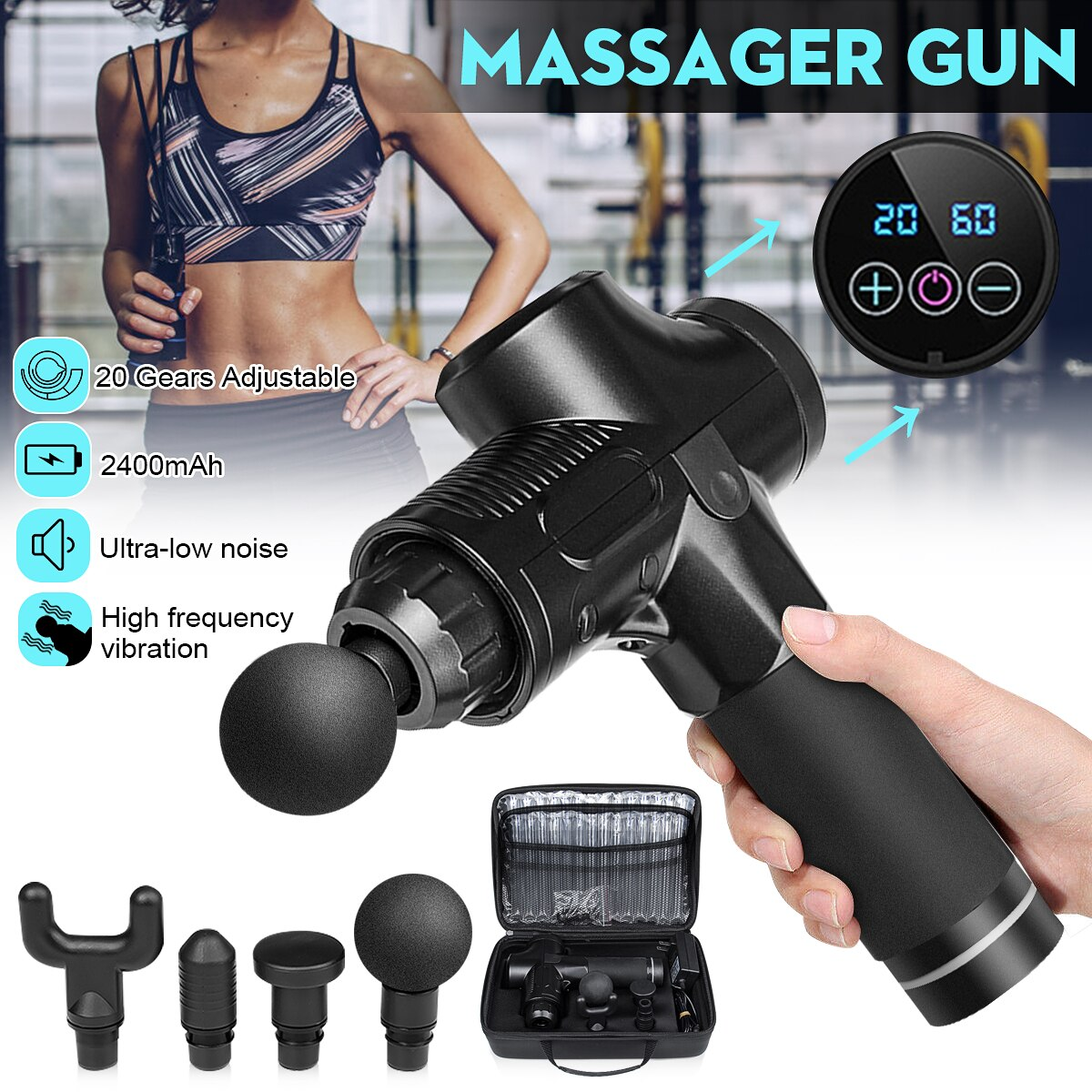Therapy Tissue Massage Guns 20 Gear 24V Muscle Massager LED Home Sport Deep Tissue Pain Relief Body Relax Slim Shaping+Bag