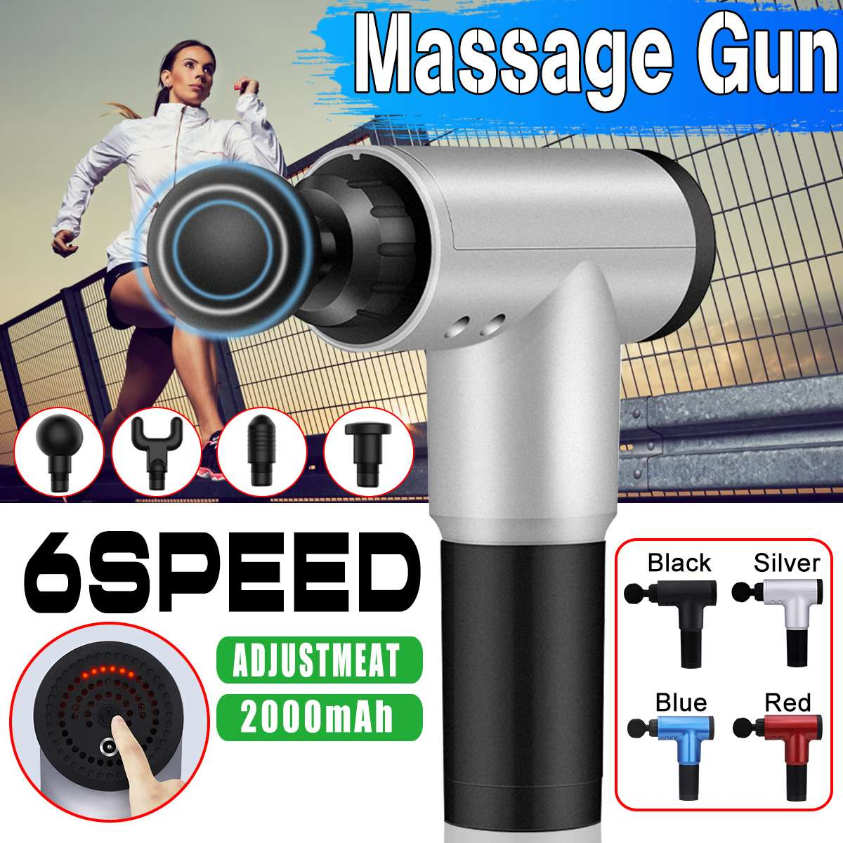 3600r/min Adjustable Tissue Massage Electric Frequency Vibration Massage-Gun LED 4 Heads Body Relaxation Pain Relief Massager