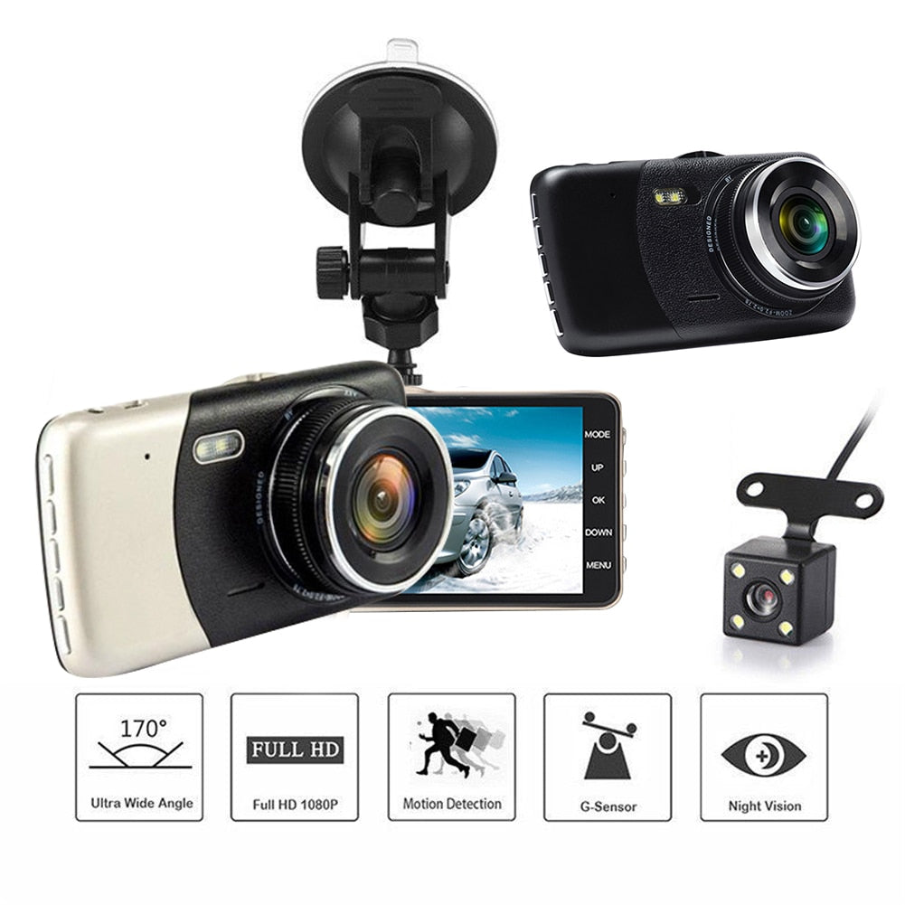 4 Inch IPS HD 1080P Car Driving Recorder Dash Cam Vehicle Rear Camera Car DVR Driving Recorder Dashcam Night Vision G Sensor