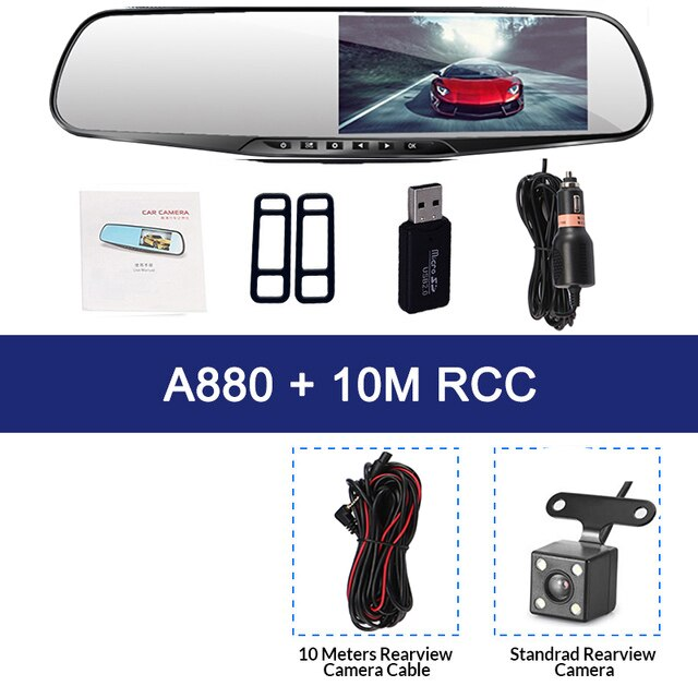 Car Dvr 4.3 Inch Dash Camera With Rear View Rearview Mirror Camera FHD 1080P Dual Lens Video Recorder Auto Registrars Dashcam