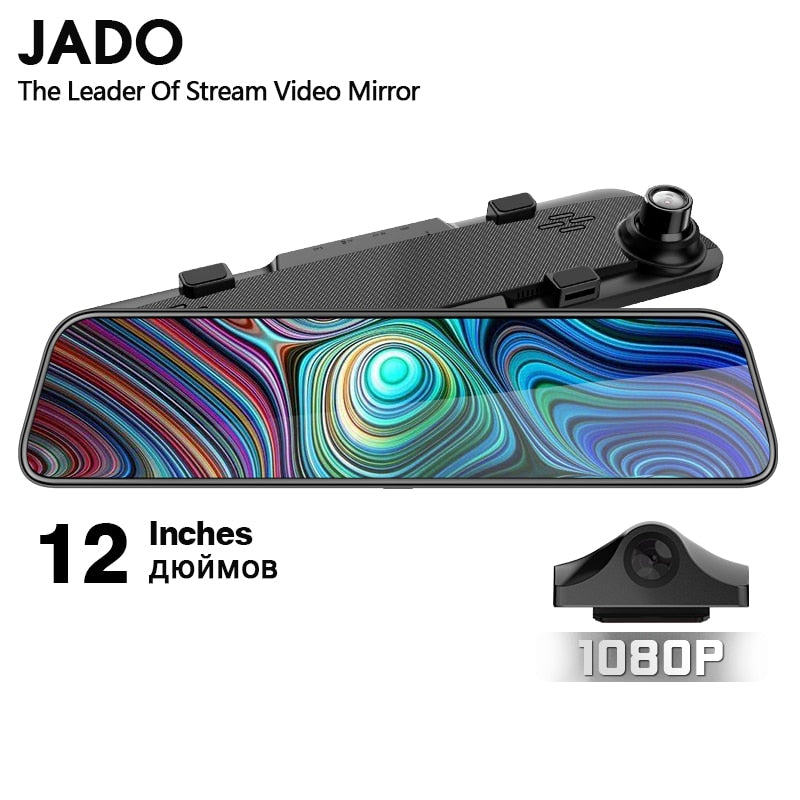 JADO 2019 G840 12-inch Streaming RearView Mirror Car Dvr Camera Dashcam FHD Dual 1080P Lens Driving Video Recorder Dash Cam