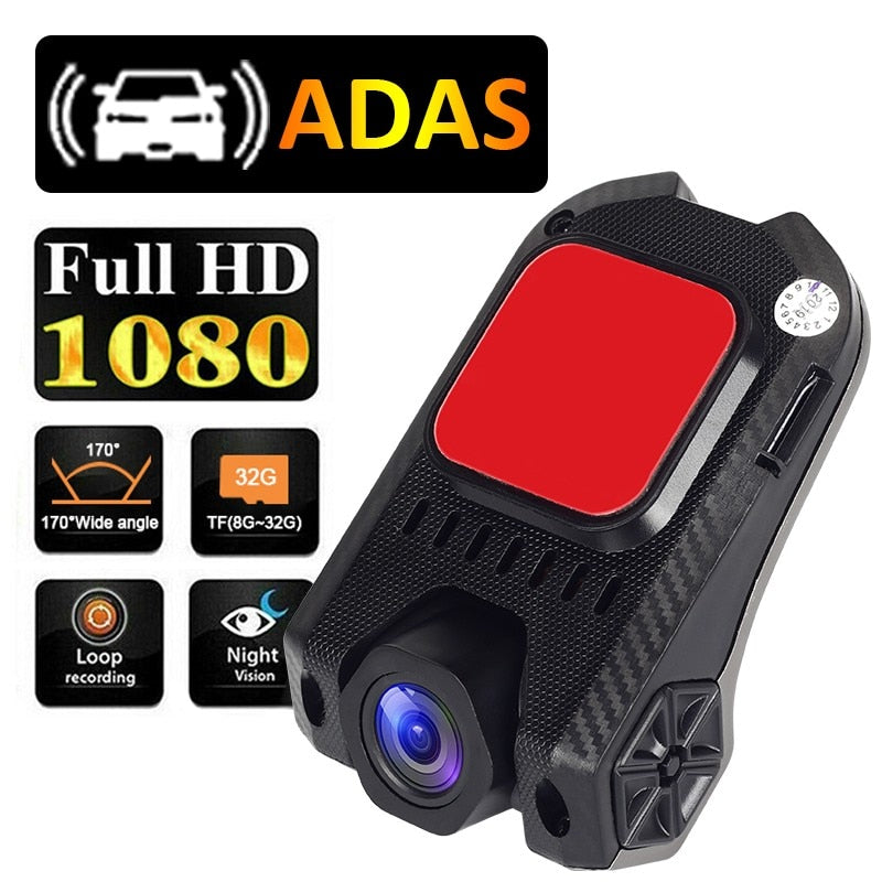 Andorid USB Car DVR Dash Camera ADAS 1080P Full HD Driving Recorder Night Vision Loop Recording G-sensor 170° Wide Angle Dashcam