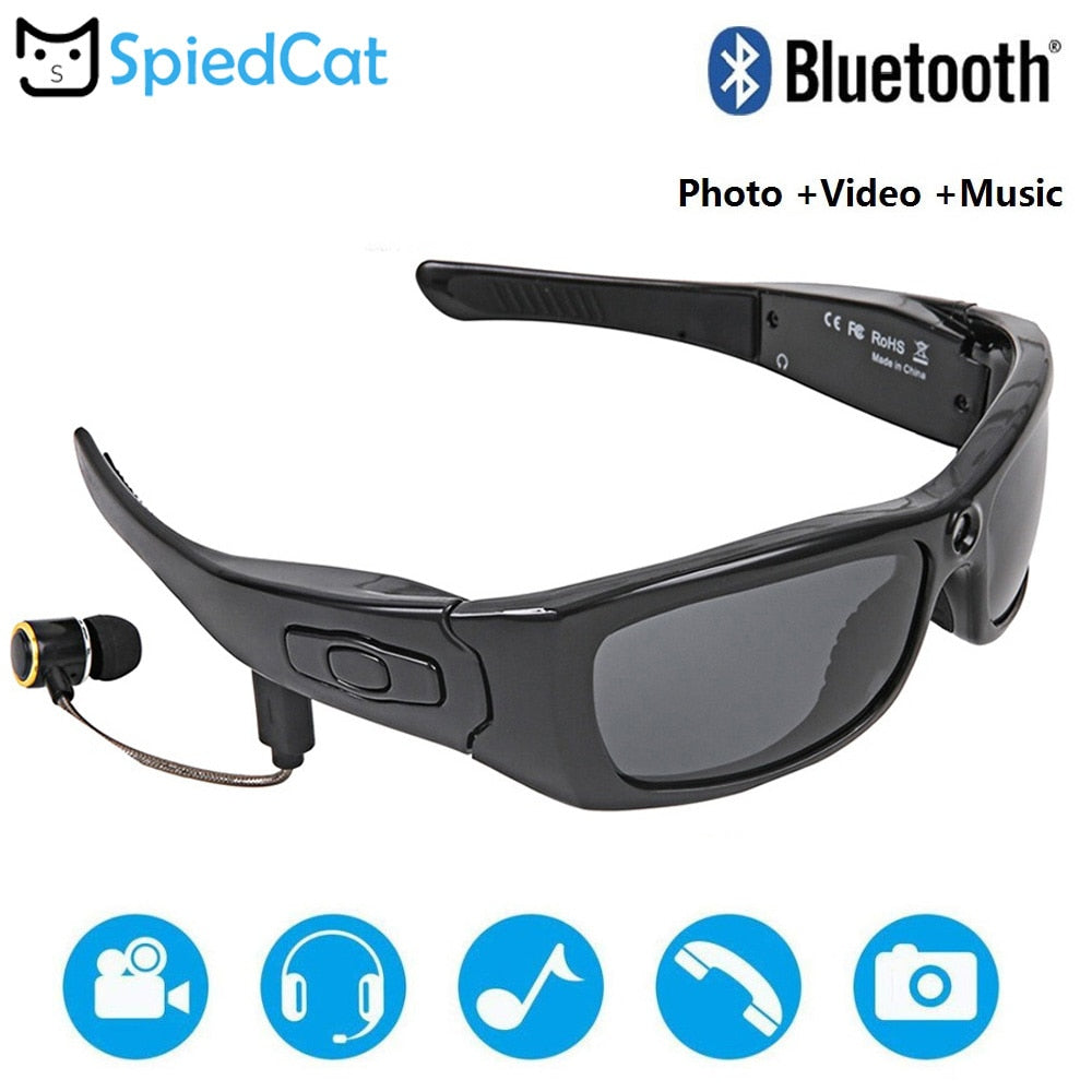 HD 1080P Glasses Cam with Bluetooth MP3 Player Sunglasses DV Headset Sports Driving Forensics Recorder Polarized Lens Camcorders