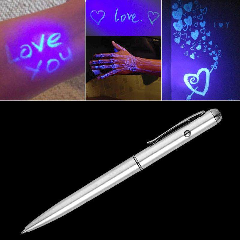 Magic LED Light Invisible Ink Creative Highlighter Ballpoint Pen Novelty Secret Spy Pens For Writing Kids Gift School Supplies
