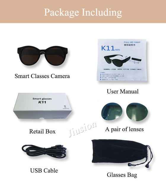 Smart Glasses WiFi Camera for IOS Android Full HD 1080P, Mini Portable Sports Sunglasses Camera, Micro Video Recorder Camcorder