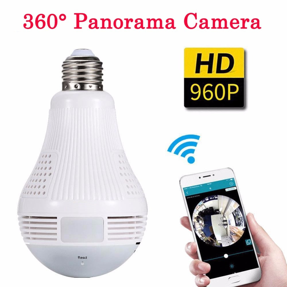 360 Degree Panorama Video Camera Wifi IP Light Bulb Surveillance CamCCTV Motion Sensor Night Vision 960P for iPhone Android