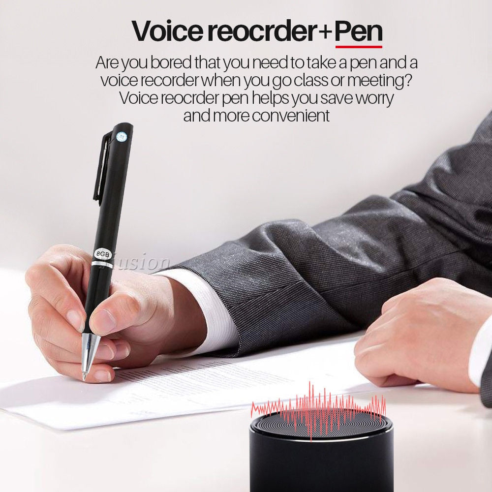 8GB Memory Voice Recorder Pen with MP3 Function 2 in 1 Digital Portable Stereo Audio Record gizli Dictaphone Registrar