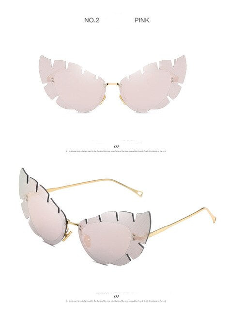 Luxury Brand Fashion Sunglasses Women Rimless Cat Eye Cute Glasses for Women or Female Party Sun Glasses D Eyewear Gafas