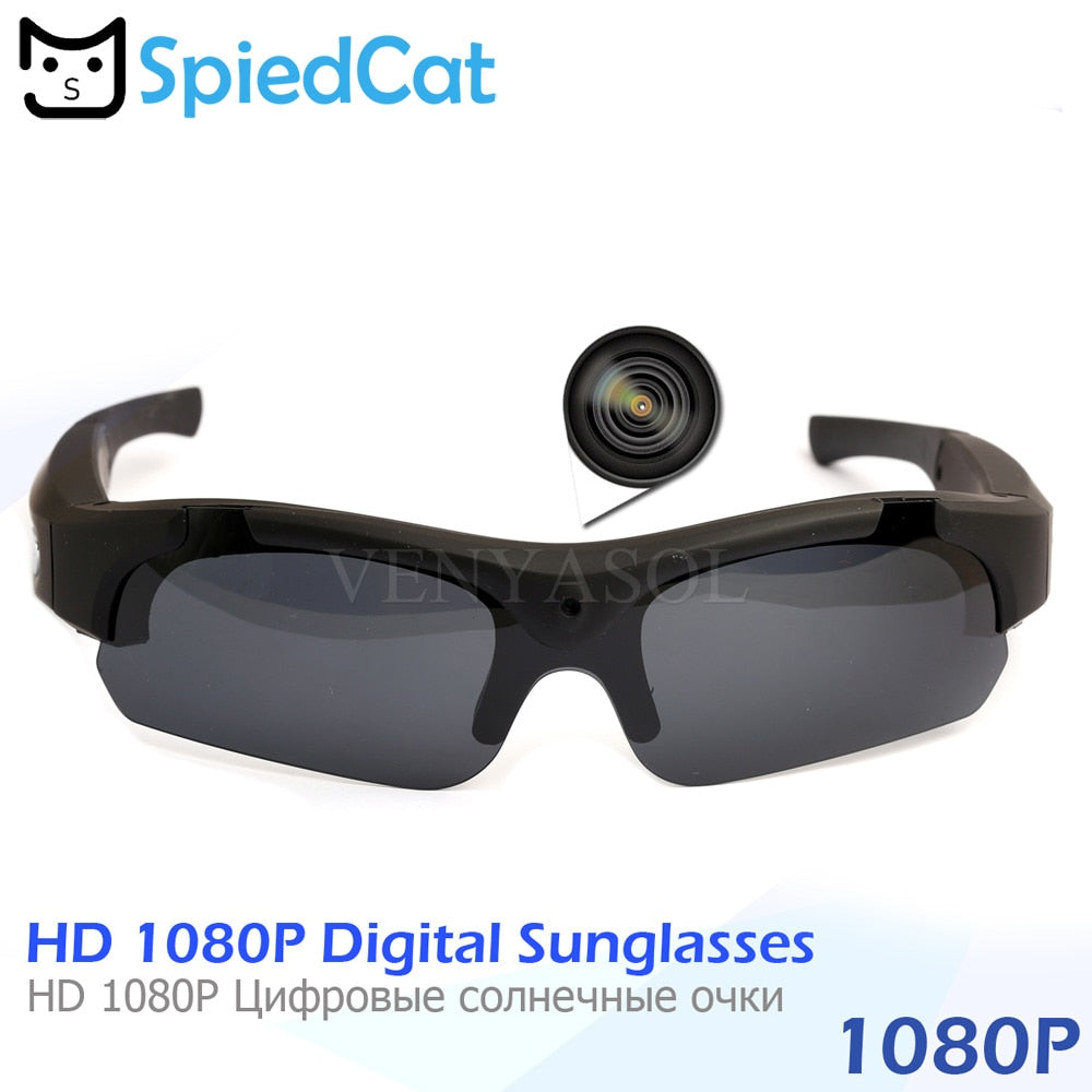 SPIED CAT FULL HD 1080P Polarized Mini Camera Sunglasses Digital Video Recorder Glasses Sport Camcorder secret Outdoor black cam