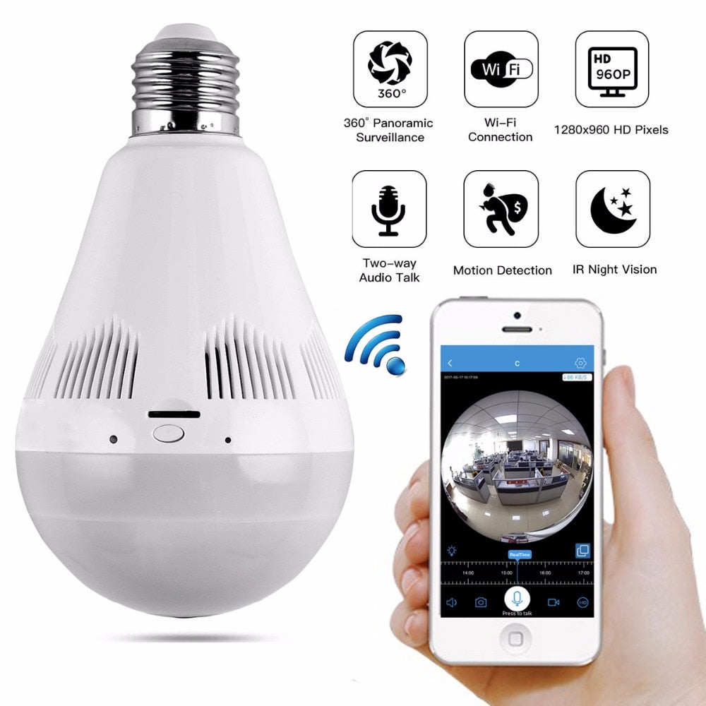 360 degree Panoram fisheye 1.3MP night vision infrared wireless WIFI IP led lighting bulb CCTV camera