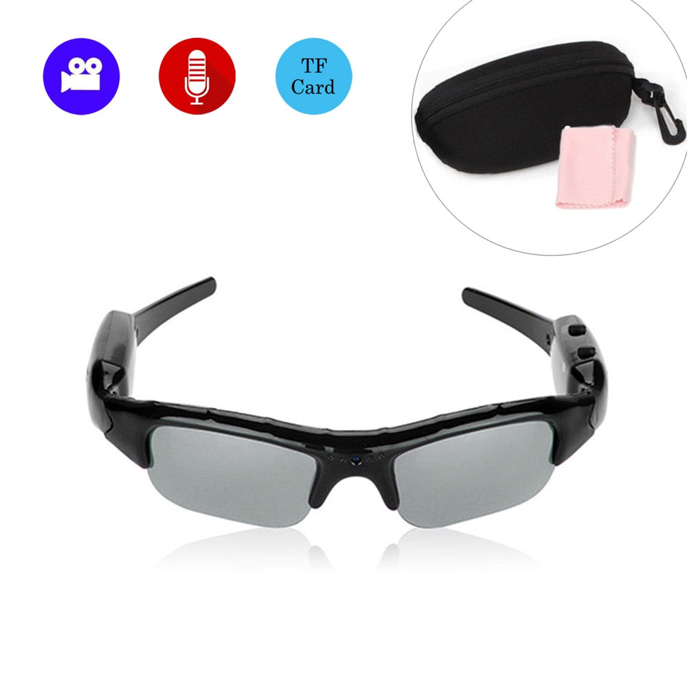 Glasses Camera Outdoor Sports Mini Polarizer Sunglasses Camcorder Secert Security Smart Cam DV Voice Audio Recorder Microphone