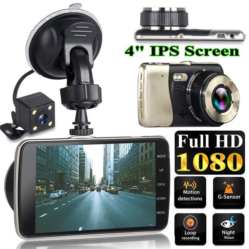 4 Inch Front And Rear Dual Lens Driving Recorder HD 1080P Car Vehicle DVR EDR Dashcam With G-Sensor Rearview Functions