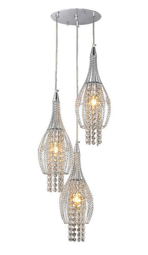 3-light Adjustable Crystal Chrome-finish Chandelier - Chrome