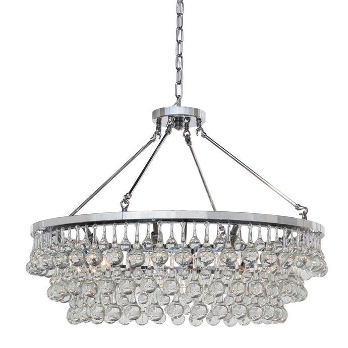 10-light Glass and Crystal Chandelier - 32in Diameter - Chrome