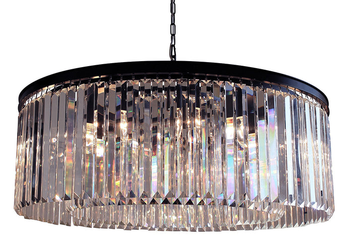 12-Light Round Clear Glass Fringe Crystal Prism Chandelier, Clear Glass