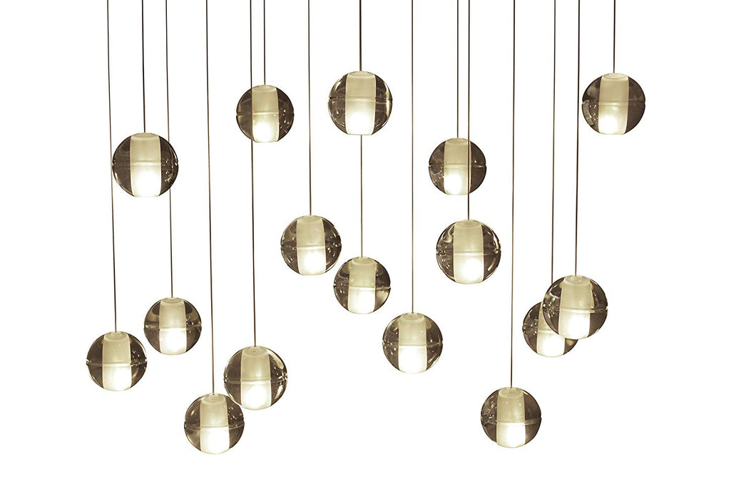 16-Light LED Rectangular Floating Glass Ball Chandelier
