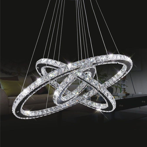 Modern LED K9 Crystal Chandelier Pendant Lamp Flush Mount Ceiling Light Fixture