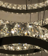 Modern Crystal Spiral Elipse 5 Ring LED Crystal Chandelier - Dimmable - 32in Diameter