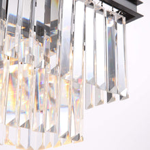 "40"" Rectangular Crystal Fringe Chandelier, Black Finish and Clear Glass"