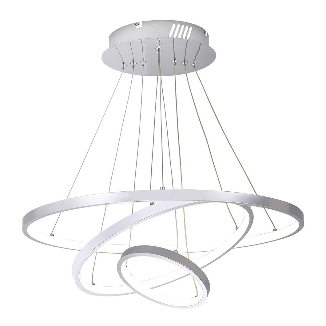 3 Circular LED Chandelier - Matte Silver - 32in Diameter - Switchable Daylight and Softwhite Lights - Dimmable