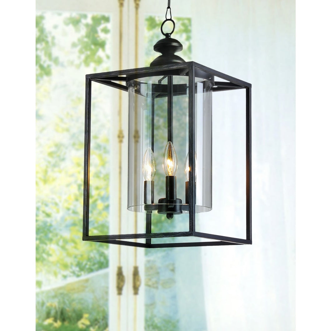 Antique Black 3-light Glass and Metal Chandelier