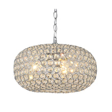 Oval-shaped Crystal and Chrome 3-light Chandelier