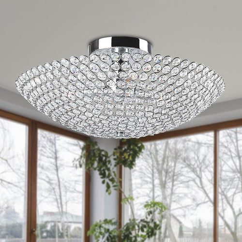 3-light Chrome Bowl-shaped Crystal Flush Mount