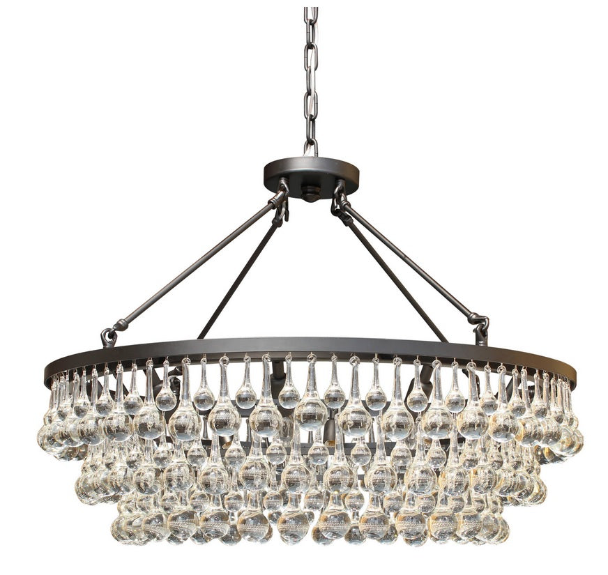 10-light Glass and Crystal Chandelier - 32in Diameter - Black