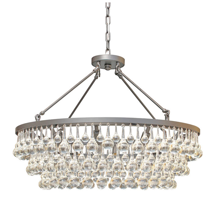 10-light Glass and Crystal Chandelier - 32in Diameter - Brushed Nicklel