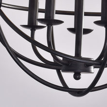5-light Antique Black Metal Tube Globe Chandelier