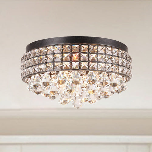 Iron Shade Crystal Flush Mount Chandelier