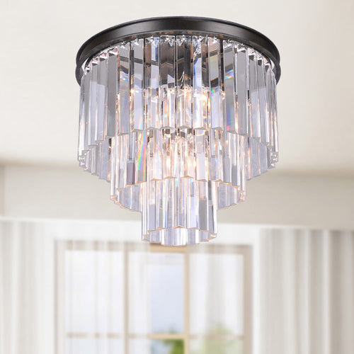 5-light Crystal Glass Prism 3-tier Flush Mount Antique Black Chandelier