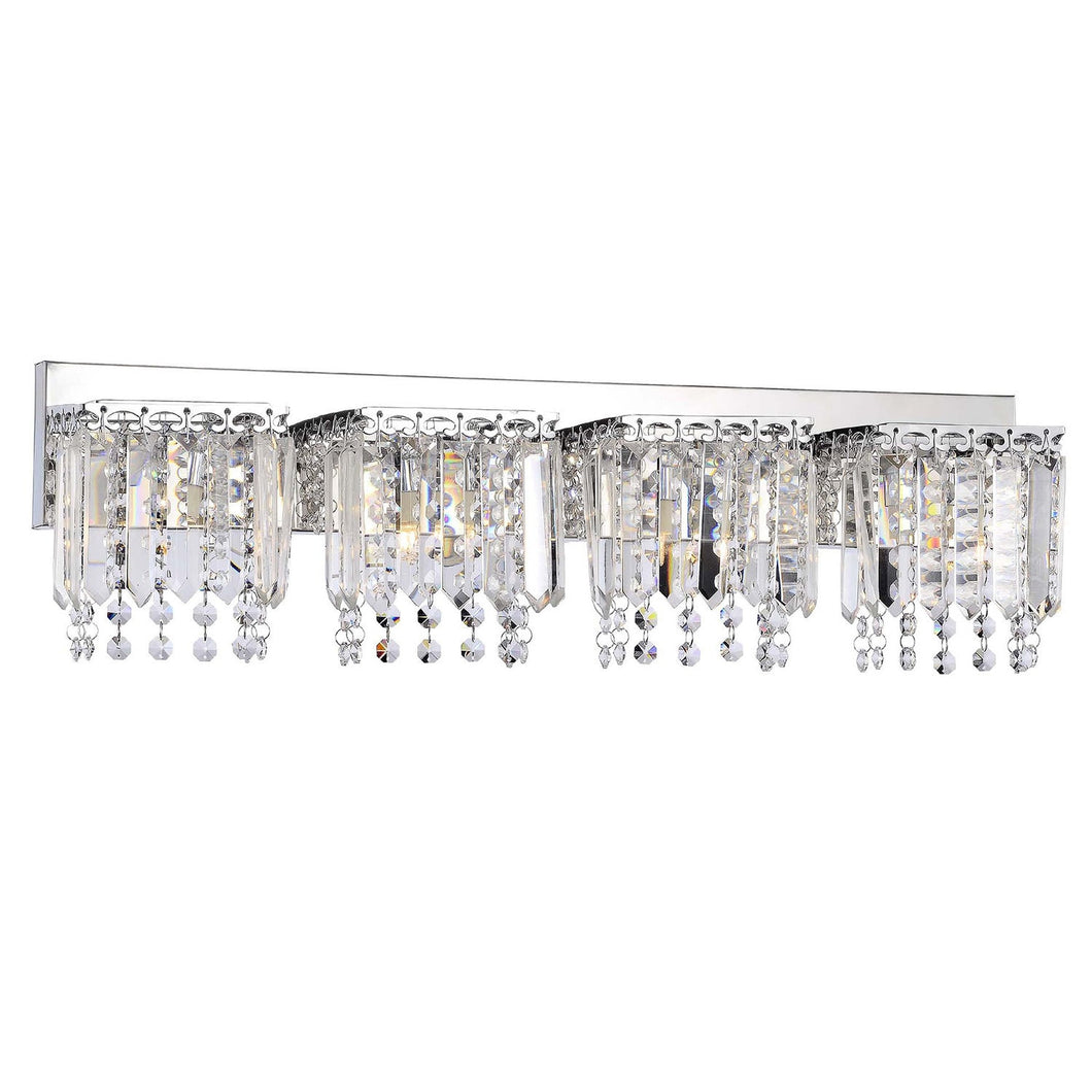 4-light Chrome Finish Crystal Strand Wall Sconce