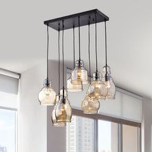 USUT 8-Light Cognac Glass Cluster Pendant in Antique Black Finish
