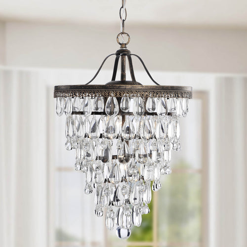 4-light Antique Brass Crystal Chandelier