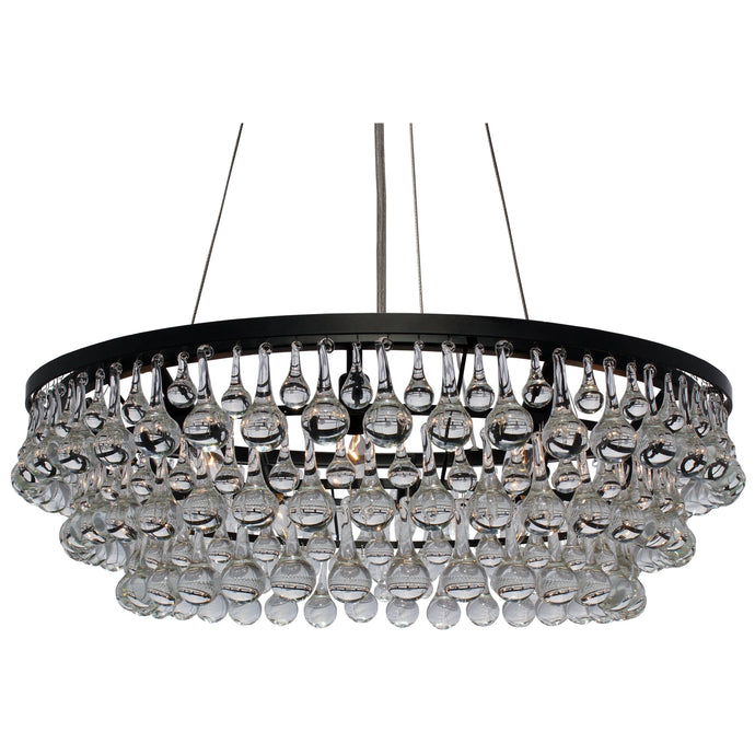 Glass Drop Crystal Chandelier - Black - 32in Diameter