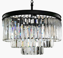 6-Light Luxury Modern Contemporary Crystal Chandelier Ceiling Light Pendant - Black