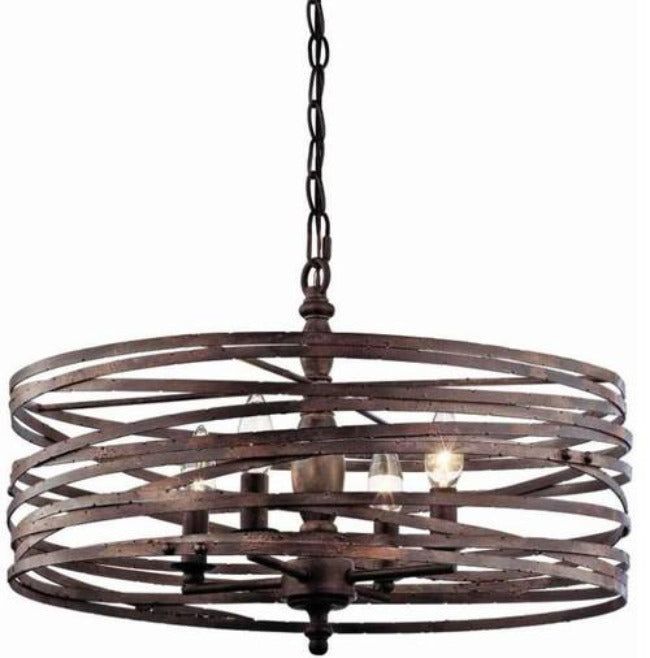 4-Light Strap Cage Chandelier - Weathered Iron