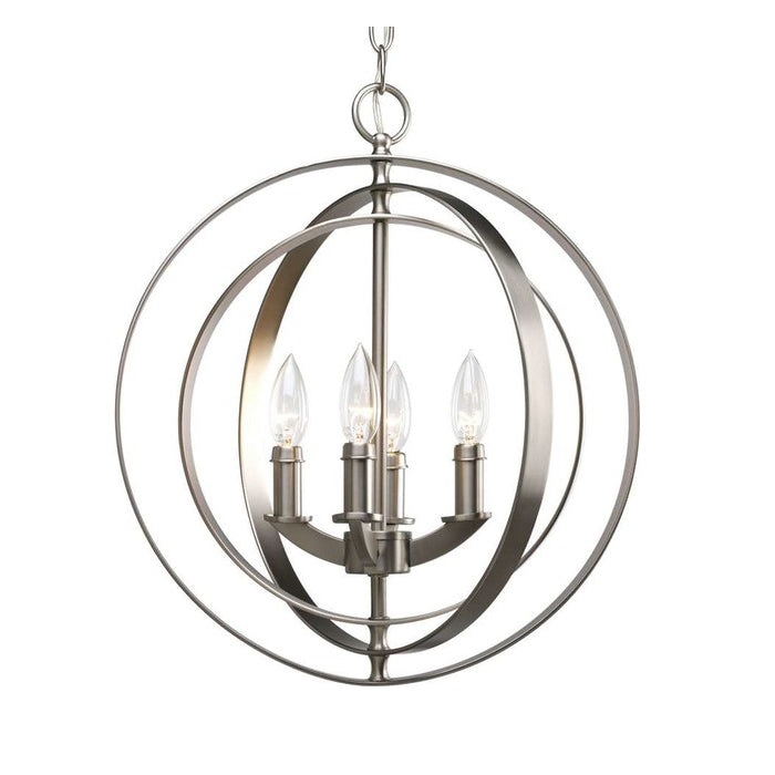4-Light Foyer Pendant Light, Burnished Silver