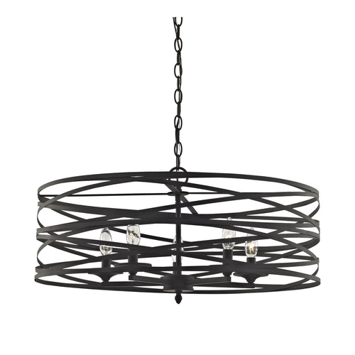 4-Light Strap Cage Chandelier - Oil Rubbed - Black
