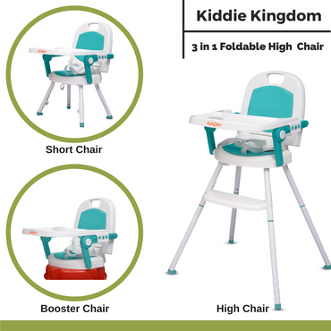Little Pumpkin Kiddie Kingdom 3 in 1 Foldable High Chair For Kids