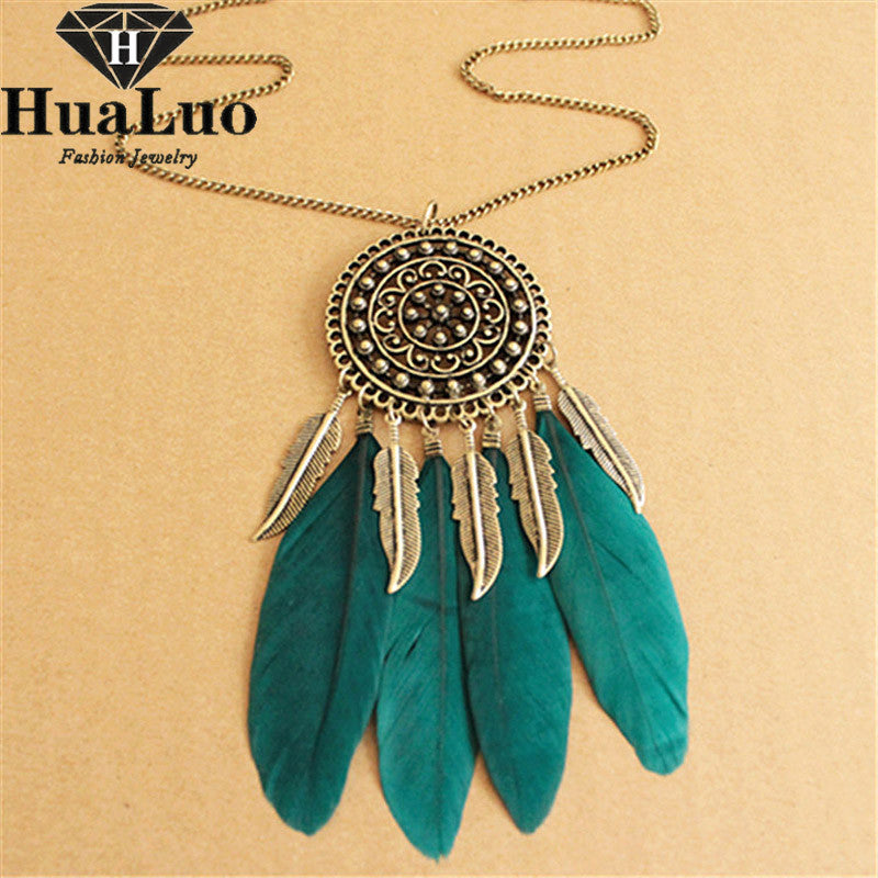 Fashion Feather Snake Chain Pendant & Necklace