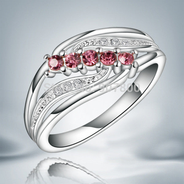 Beautiful Design Austrian Crystal Silver Ring