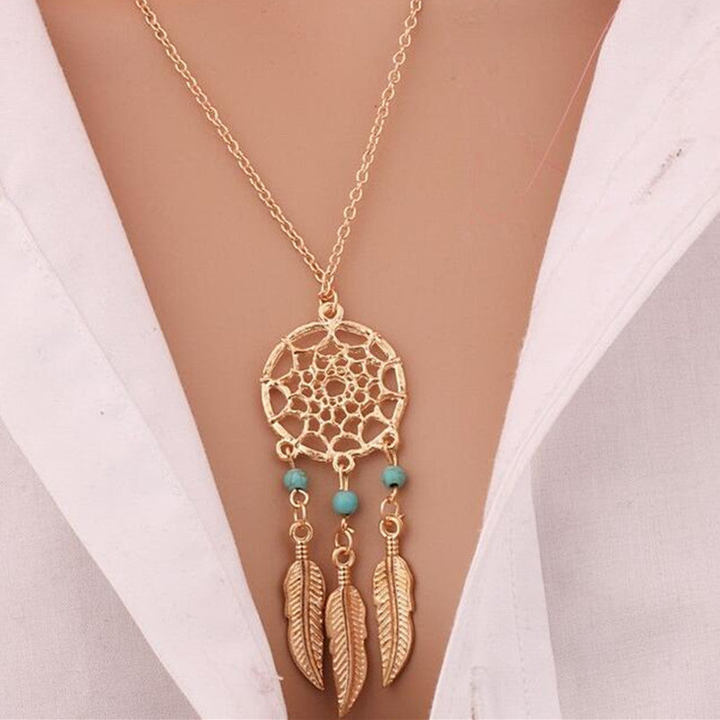 2017 best fashion retro feather necklace